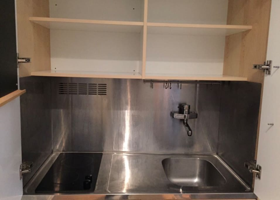 Private mini kitchen with, sink,  fridge freezer and electric hob