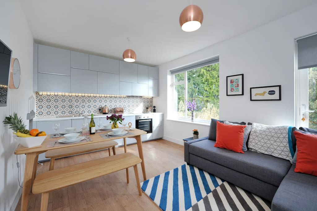 A comfortable and sociable open plan space from which to enjoy fabulous view