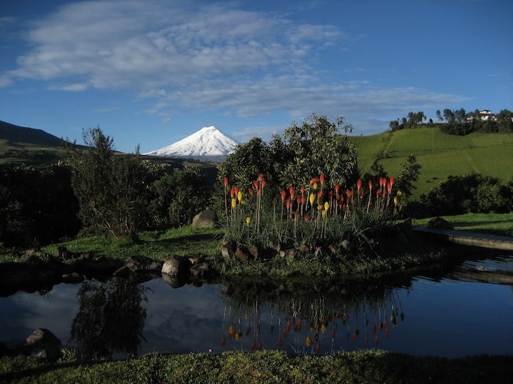 "Hacienda ""La Campiña"" in front of Cotopaxi."