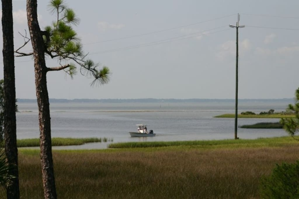 View of the Apalachicola Bay from the deck