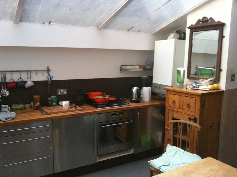Large and light kitchen diner with back door to the garden