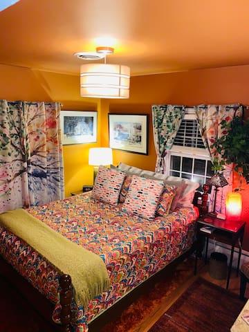 Bedroom #2. Queen bed with smart tv.