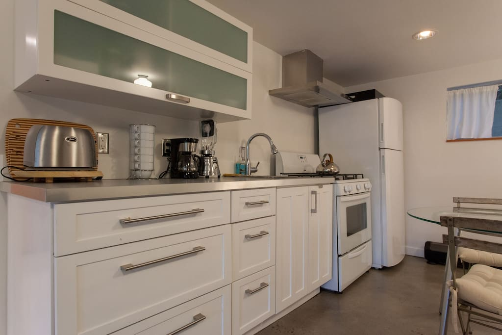Kitchen is newer and fully equipped with toaster, french press, coffee maker, blender and electric kettle plus teas and coffee on the house.
