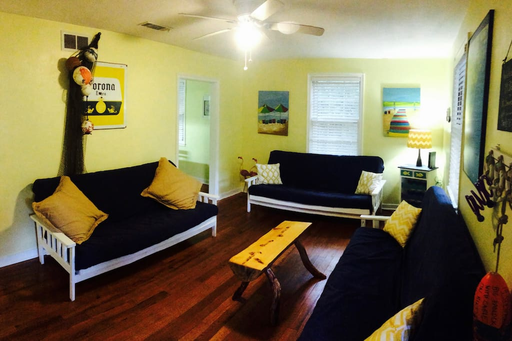 Living room (has big flat screen TV with nice sound system)