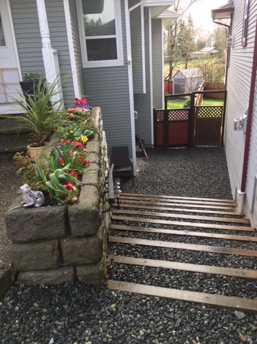 Steps from driveway to gate that leads to backyard and suite entrance. Please keep the gate closed to keep the deer out and the dog in.