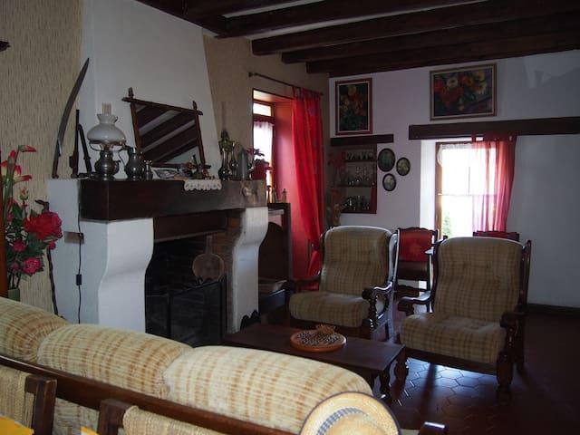 Salon de détente avec cheminée