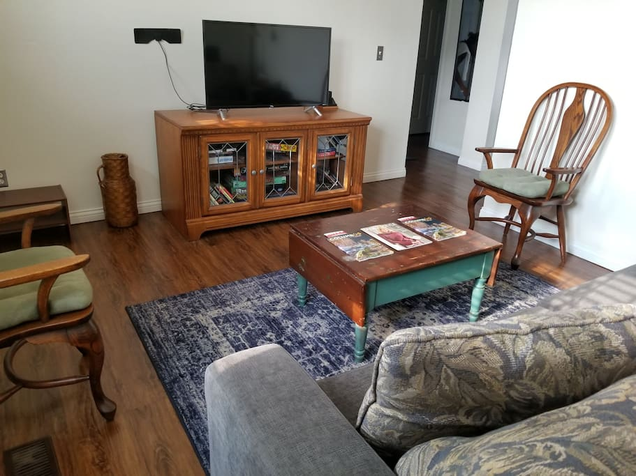 Living room with Roku TV.