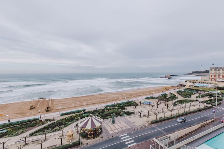 Studio grande plage vue mer, possibilité parking! - Biarritz - Appartement