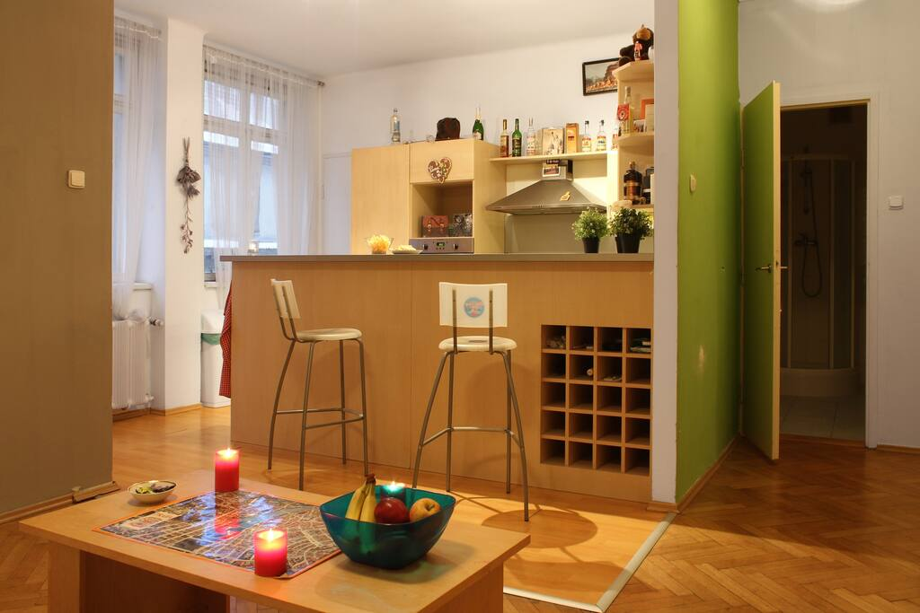 Nice big open kitchen/bar/living area
