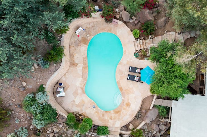 Red rock pool from above.