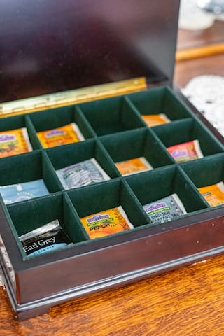 Tea box has assorted teas for your sipping pleasure.