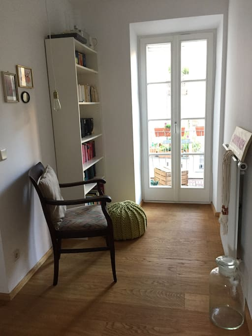 Our little library with view to the lovely balcony
