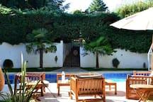 Comme dans le sud, bord de la piscine avec pour décors les palmiers et la blancheur de la provence.