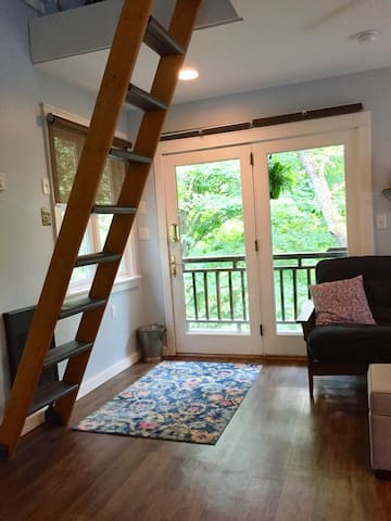 Loft ladder to Dynasty queen size bed.