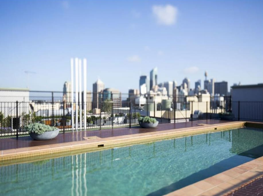 Our rooftop pool with city views.