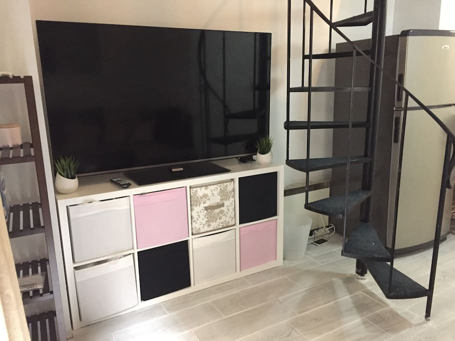TV + stairs to access the bedroom