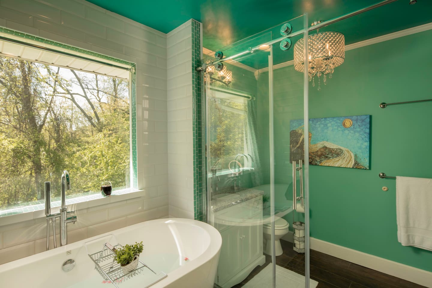 2 person soaker tub with view of the backyard, completely private - no neighbors behind us!