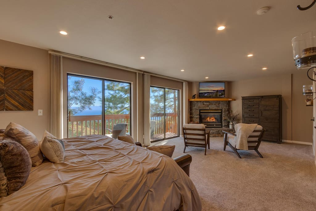 Master bedroom from ensuite full bath with lake views.
