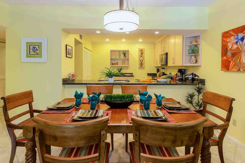 The dining table will seat up to six comfortably...