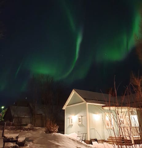 Aurora above the guesthouse
