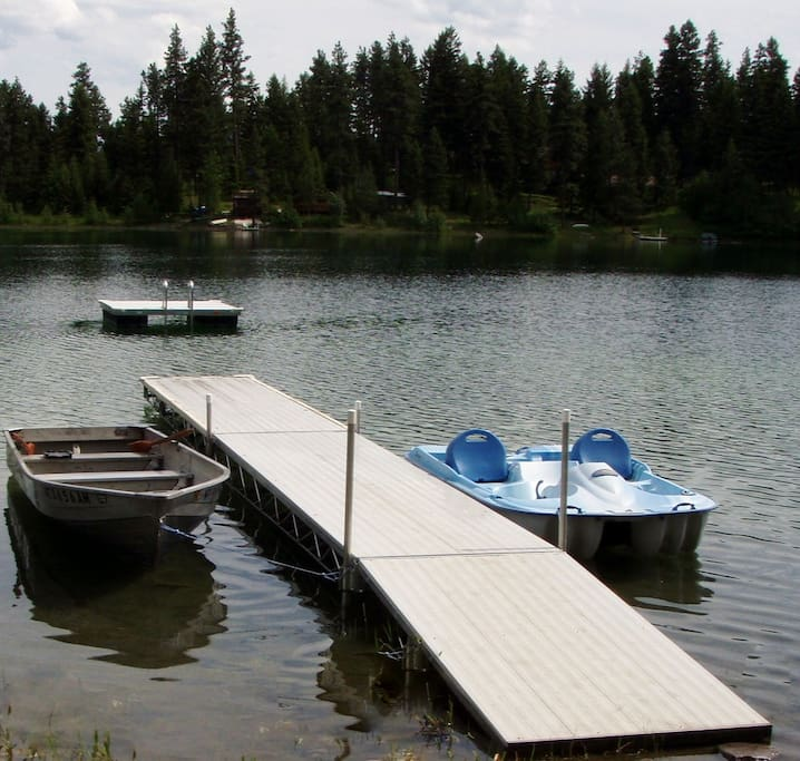 Our docks and boats. The boat on the right comes with the cabin rental and the one on the right is available for rent