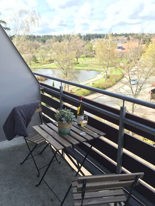 A glass of wine on the Balcony