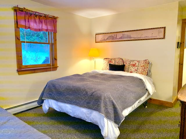 Queen bed in main floor bedroom with access to a full bath.