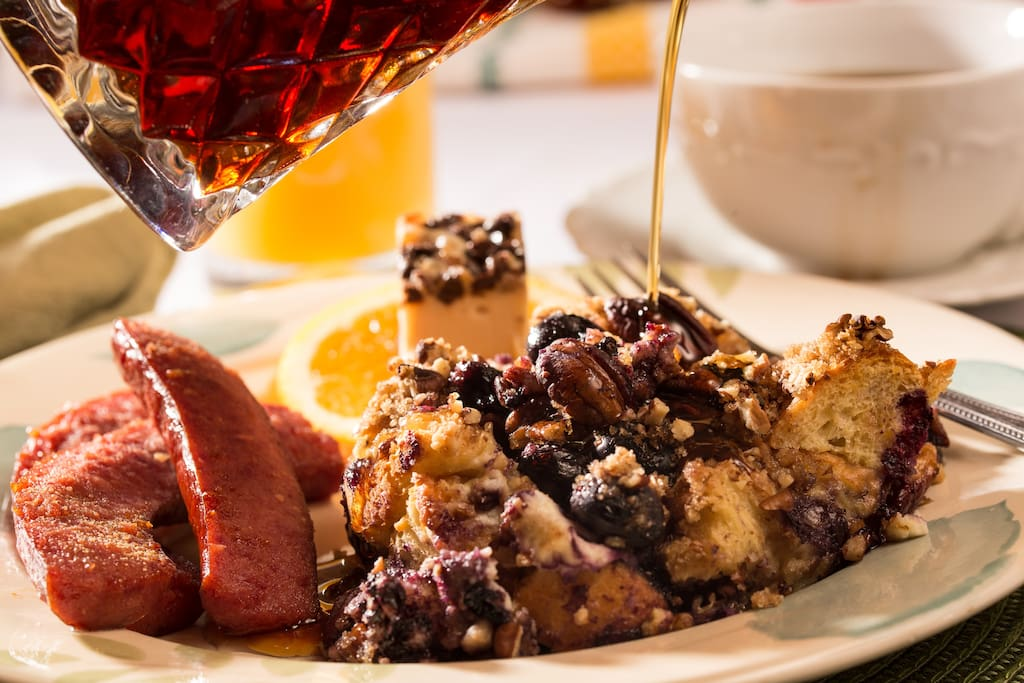 Blueberry French Toast Strata with smoked sausage