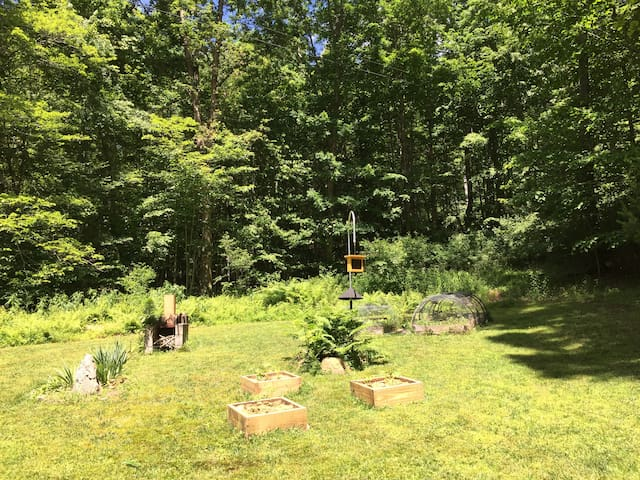 View of back yard from back porch Fireplace, bird feeder and gardens