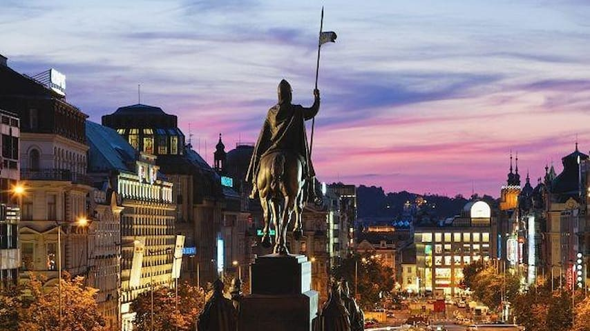 Walk along the Wenceslas sq. in the evening - only 5 min walk from the apartment