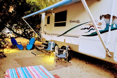RV Trailer set up for family vacations
