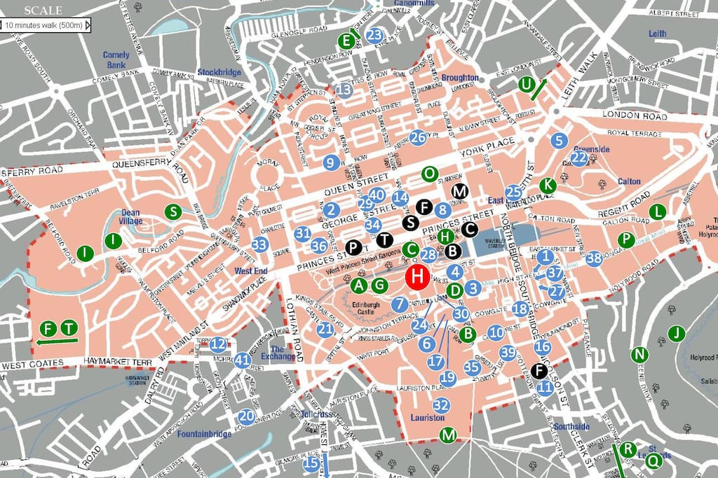 Location - we are the red 'H' situated in the middle of Edinburgh's UNESCO World Heritage Site (the pink area).