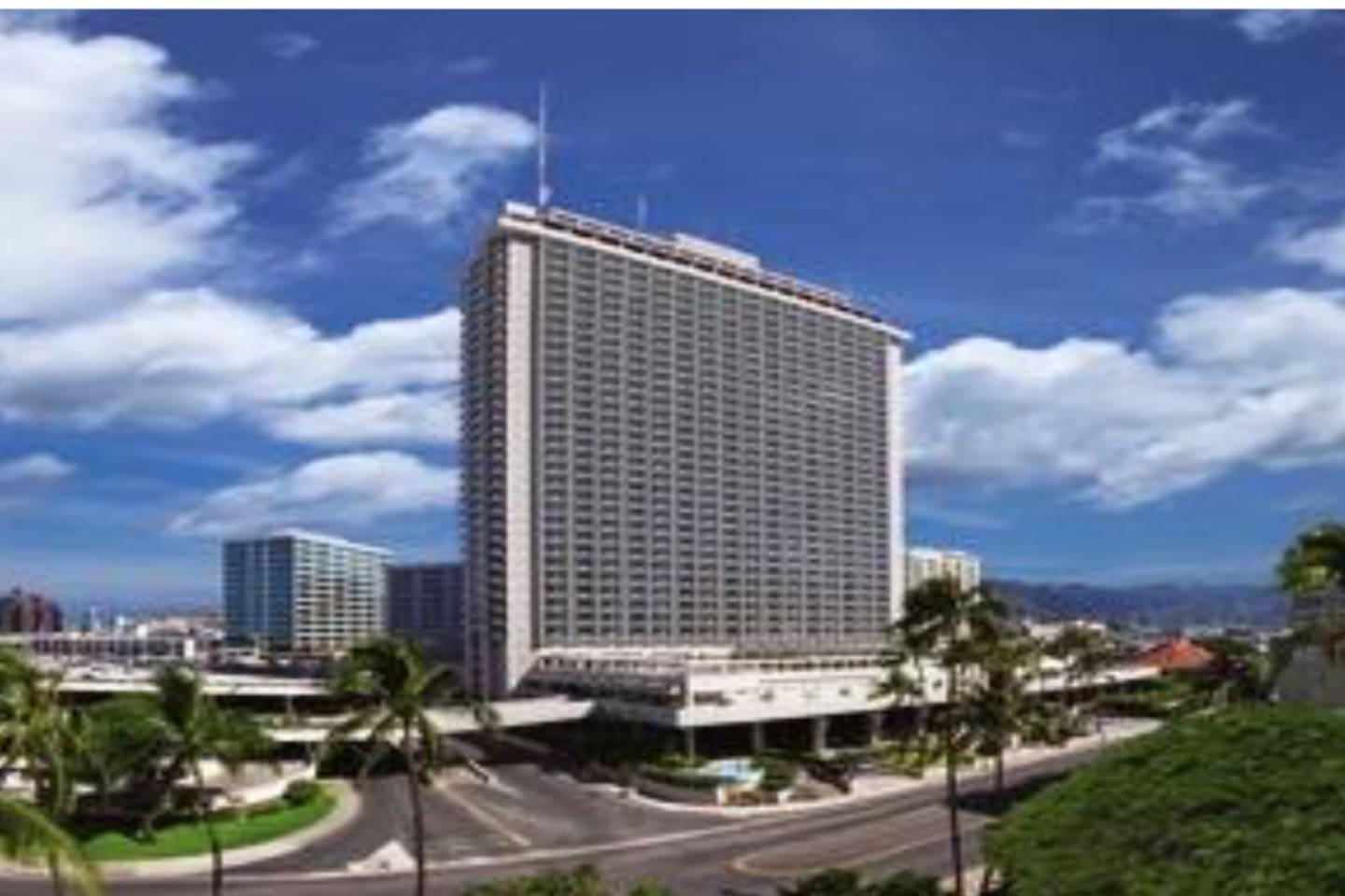 Ala Moana Hotel and Condominium. Parking available located in hotel with fee. Convenient bus line only few walking distance away.