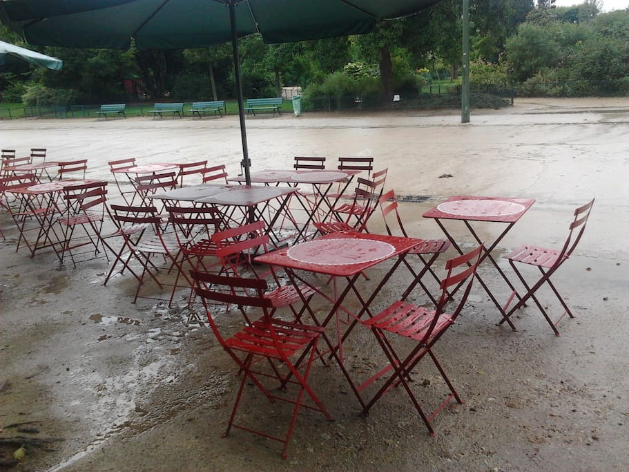 champs de mars little cafe on a rainny day with the red chairs