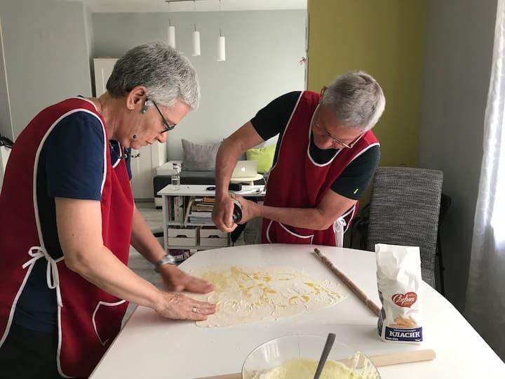 My Israel guests preparing banitsa filo