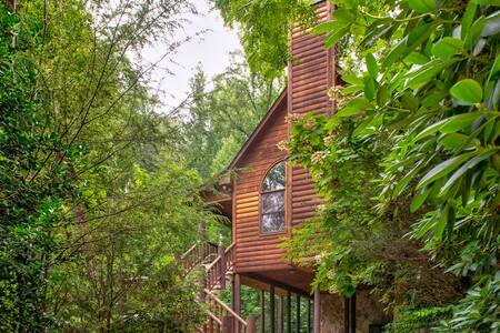 Private cabin getaway with hot tub, jetted tub, and tranquil surroundings