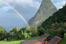 Morning rainbows are a common occurrence at Villa Piton!