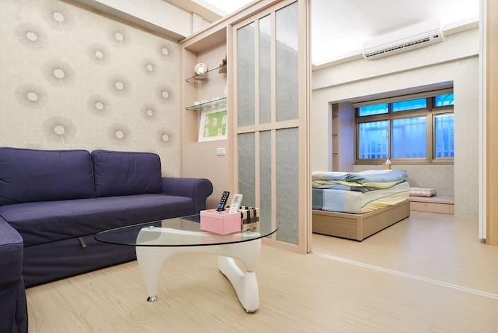 J&S Apt松山MRT+饒河夜市走路2分, 加大雙人床, 獨立全新頂級裝潢 可住2-4人 - Songshan District - Huis