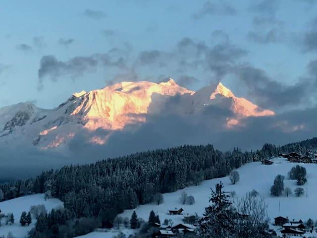 Appartement  cosy, calme, superbe vue Mont-Blanc
