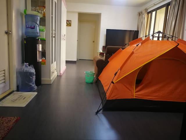 莲莲相遇阁,按日出租。她是三房两卫中的公共大厅里加的独立的1.5*1.9米的私密帐篷,可以住一个人。