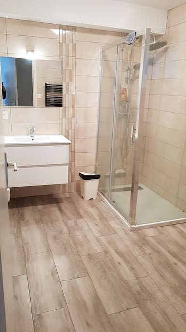 Salle  de Bains, grande douche et sèche serviettes