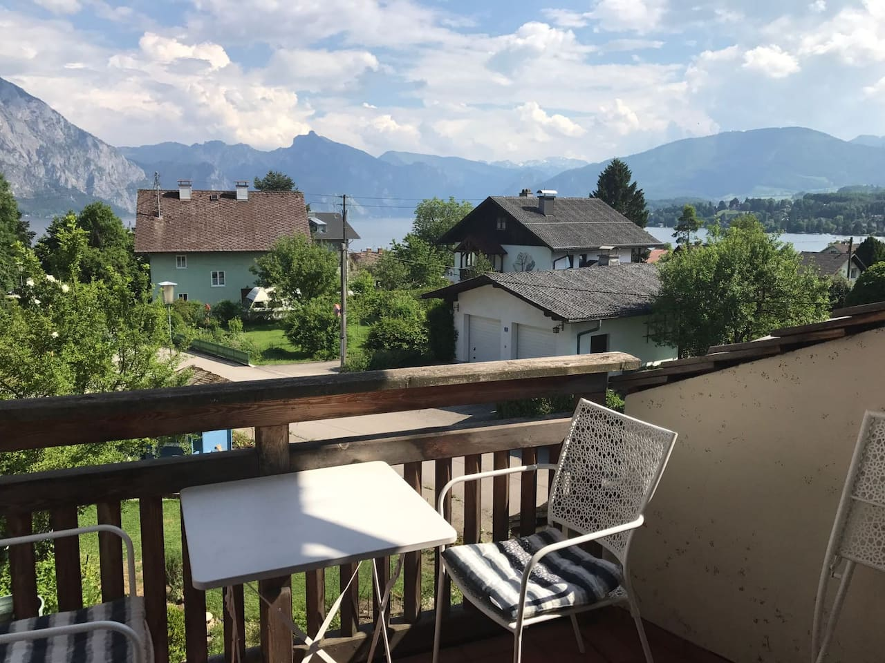 Your own private balcony with a view of the lake Traunsee and the Alps beyond.