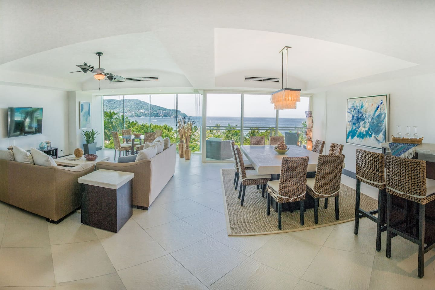 Living Room and Dining Room  - Large Balcony, Ocean Views, Air Conditioning, Ceiling Fan, Smart TV, Cable