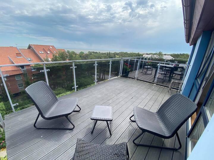 Apartamentai su terasa į Kuršių marias