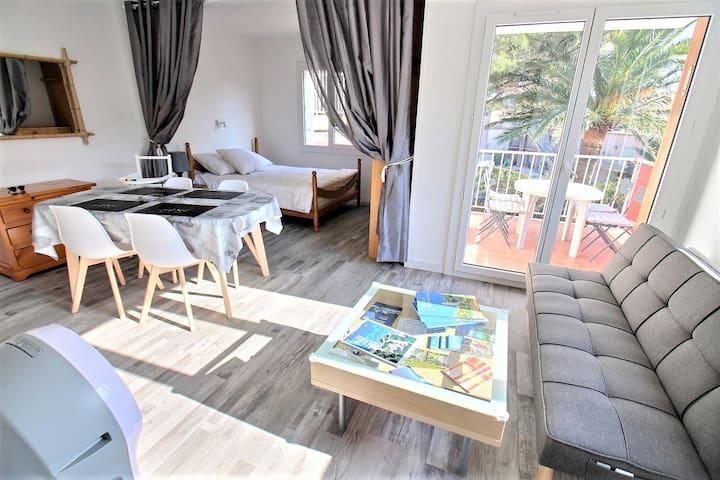 Appartement cosy climatisé, proche plages, vue mer