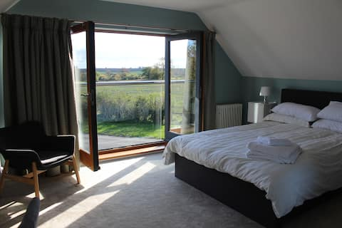 Boutique double room with country village views