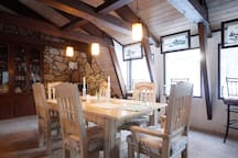 Indoor dining area for guests to enjoy breakfast.