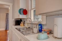 Kitchen has all the basic necessities including pot holders, coffee maker, toaster, oven, basic utensils, etc. Feel free to message if you have a question.