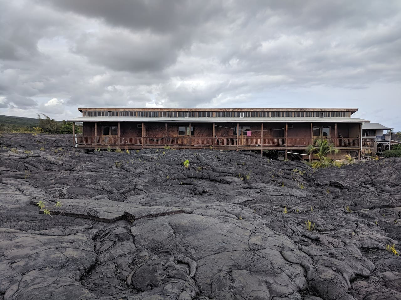 View of the lookout main guest suited from the ocean-side lava fields