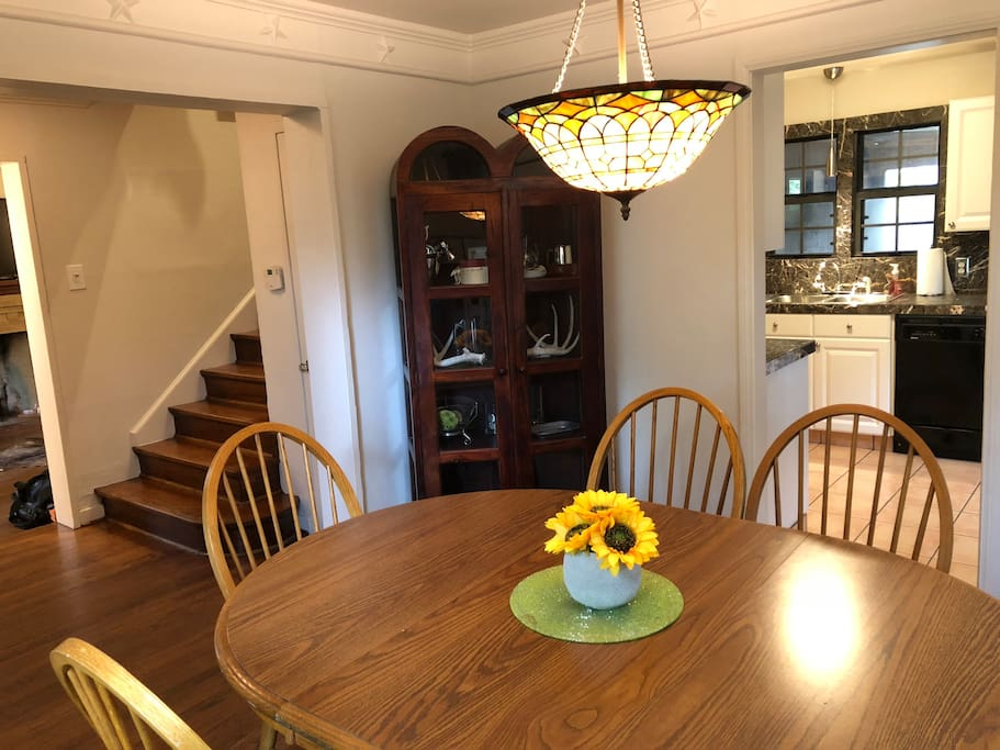 Dining area with seating for 6 conveniently located next to the kitchen and within speaking distance of the Living area.